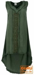 Natürliches Tunikakleid, Boho Sommerkleid - dunkelgrün