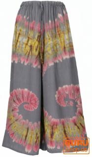 Boho Batik Hosenrock, weite Sommerhose - grau