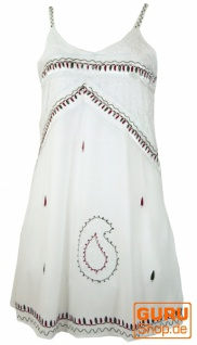 Besticktes indisches Kleid, Boho Minikleid - weiß Design 1