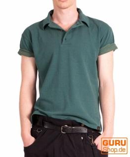 Poloshirt, Hemd aus Bio-Baumwolle / Chapati Design - peacock blue
