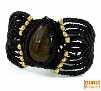 Goa Armband, Makramee Armband mit großem Labradorit - Model1