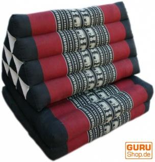 Thaikissen, Dreieckskissen, Kapok, Tagesbett mit 2 Auflagen - Elefant schwarz/rot - Vorschau