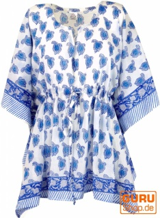 Hippie Poncho, Kaftan, Tunika, Poncho Bluse - weiß/blau