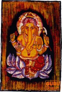 Handgemaltes Batikbild, Wandbehang, Wandbild - Ganesh 87*67 cm