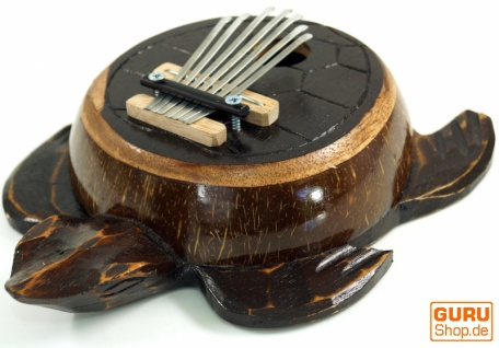 Musikinstrument aus Holz, Musik Percussion Rhythmus Klang Instrument, handgearbeitet, Schildkröte geschnitzt aus Holz & Kokosnuß - Kalimba 4