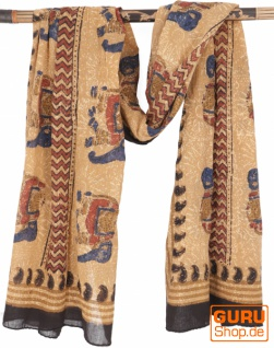 Leichter Pareo, Sarong, handbedrucktes Baumwolltuch - Farb Kombination 12