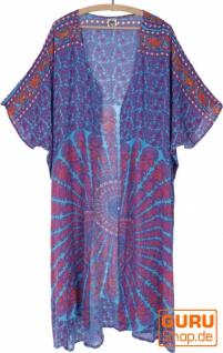 Leichter Sommer Kimono, Umhang, Strandkleid mit Mandala Muster - türkis/pink/rost