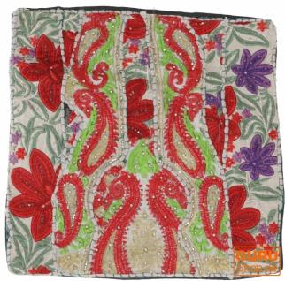 Patchwork Kissenhülle, Dekokissen Bezug aus Rajasthan, Einzelstück - Muster 21