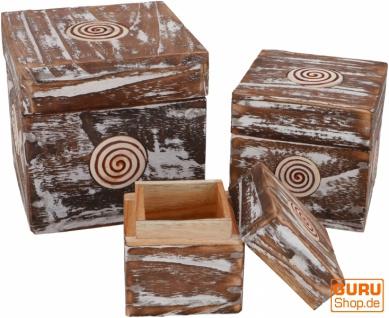 Schmuckkästchen, Holzschachtel in 3 Größen - quadratisch