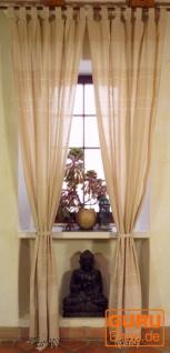 Vorhang, Gardine aus grob gewebter weicher Baumwolle (1 Paar Vorhänge, Gardinen) - naturweiß
