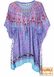 Poncho, Kaftan, Tunika, Minikleid, Damen Übergröße, Kurzarm Strandbluse - blau/violett