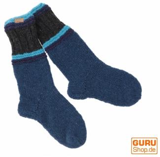 Handgestrickte Schafwollsocken, Haussocken, Nepal Socken - petrol/schwarz