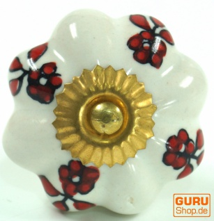 Möbelknopf Rose aus Keramik, Möbelknauf Möbelgriff, Schranktürknöpfe, Möbelknöpfe, Schubladengriff - Modell 44