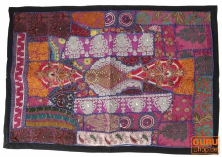 Indischer Wandteppich Patchwork Wandbehang/Tischläufer Einzelstück 90*65 cm - Muster 25