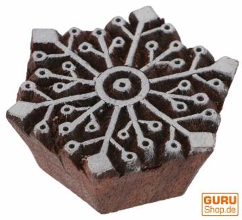 Indischer Textilstempel, Stoffdruckstempel, Blaudruck Stempel, Holz Model - 6*6 cm Schneeflocke 1