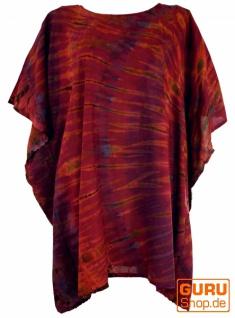 Batik Kaftan, Ibiza-Style Tunika, Boho Bluse, Damen Maxibluse - rostrot