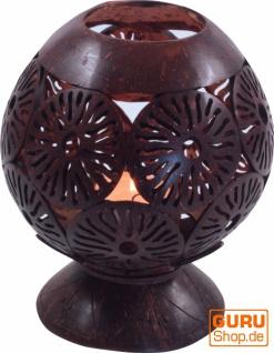 Dekoleuchte aus gravierter Kokosnuß - Modell 1