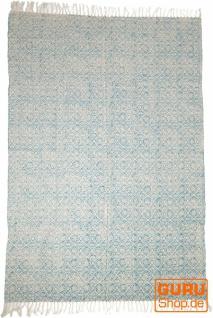 Handgewebter Blockdruck Teppich aus natur Baumwolle mit traditionellem Design - Muster 6