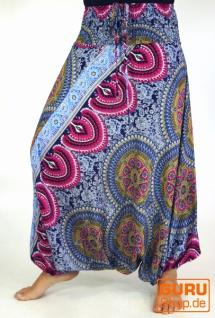 Afghani Hose, Overall, Jumpsuit, Haremshose, Pluderhose, Pumphose, Aladinhose - blau/pink/bunt