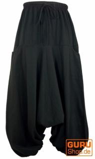 Haremshose Pluderhose, Unisex Pumphose, Aladinhose mit sehr langem Bein - schwarz