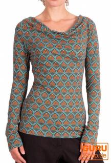 Pullover, Langarmshirt aus Bio-Baumwolle / Chapati Design - turquoise retro