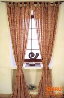 Vorhang, Gardine (1 Paar Vorhänge, Gardinen) mit Schlaufen, handbedruckt - Spirale rot