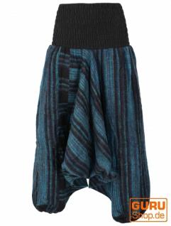 Flauschige Haremshose, Boho Pluderhose, Pumphose, Aladinhose - blau/schwarz