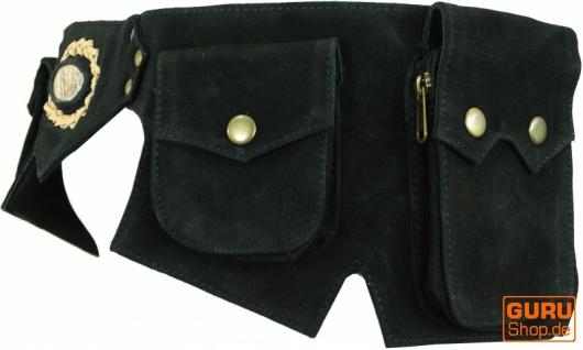 Sidebag, Festival Leder Gürteltasche mit Halbedelstein, Goa Bauchtasche - schwarz