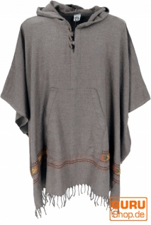 Poncho Hippie chic, warmer Andenponcho - taupe