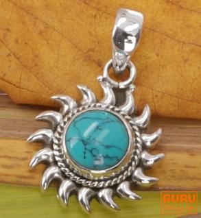 Ethno Silberanhänger, Indischer Boho Kettenanhänger Silberanhänger Sonne - Türkis