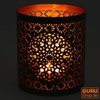 Filigranes orientalisches Metall Windlicht, Teelicht Leuchte mit fein gefrästem Design - Motiv 2 - Vorschau 3
