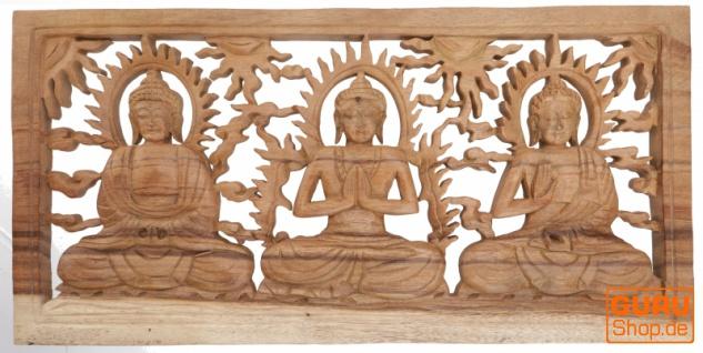 Geschnitztes Wandbild Deko Wandrelief - 3 Buddhas