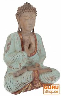 Großer Holzbuddha, Buddha Statue, Handarbeit 43 cm, antik grün - Modell 12