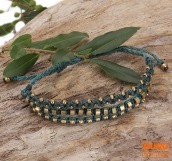 Perlenarmband, Makramee Armband, Herren Armband - türkis