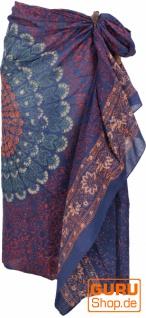 Leichter Mandala Pareo, Sarong, handbedrucktes Baumwolltuch, Wandbehang - Modell 16