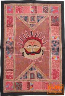 Indischer Wandteppich Patchwork Wandbehang, Einzelstück 90*65 cm - Muster 11