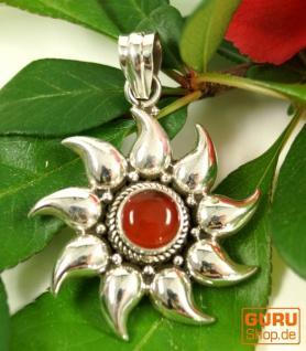 Ethno Silberanhänger, Indischer Sonnenanhänger - Karneol