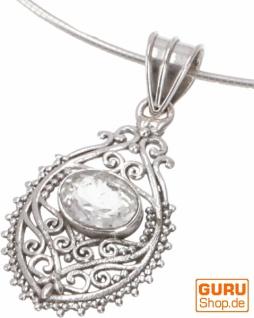 Ethno Silberanhänger, durchbrochener indischer Boho Kettenanhänger - Bergkristal