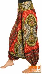 Afghani Hose, Overall, Jumpsuit, Haremshose, Pluderhose, Pumphose, Aladinhose - rot/gelb