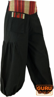 Weite Pluderhose mit breitem gewebtem Bund - schwarz