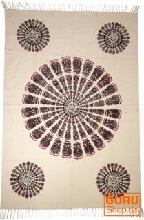 Handgewebter Blockdruck Teppich aus natur Baumwolle mit traditionellem Design - Muster 21