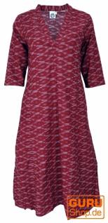Elegantes Ikat Kleid, langes Tunikakleid, Sommerkleid - bordeauxrot