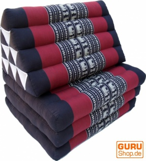 Thaikissen, Dreieckskissen, Kapok, Tagesbett mit 3 Auflagen - schwarz/rot