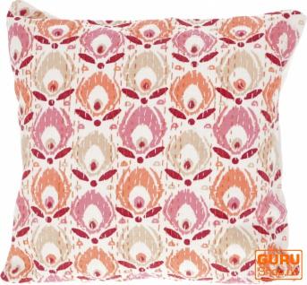 Kissenhülle, Kissenbezug mit Ethno Muster ` Paradies` - orange/pink