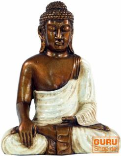 Sitzender Buddha im Bhuimsparsha Mudra aus Recin - weiß