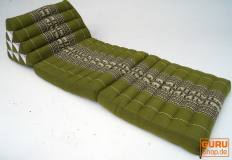 Thaikissen, Dreieckskissen, Kapok, Tagesbett mit 2 Auflagen - hennagrün - Vorschau 2