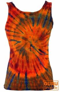 Farbenfrohes Goa-Batik Tanktop, Batiktop - orange/bunt