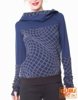 Pullover aus Bio-Baumwolle mit Kapuze / Chapati Design - navy/grey