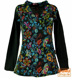 Besticktes Langarmshirt mit V-Neck Flower Power Hippie chic - schwarz/bunt