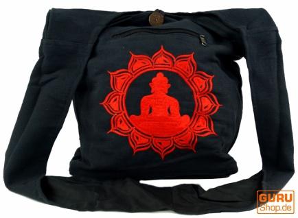 Besticktes Sadhu Bag, Goa Tasche, Schulterbeutel, Schultertasche, Shopper - schwarz/rot